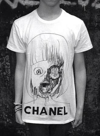 shirt chanel girl shirts skull mens t-shirt menswear grunge menswear