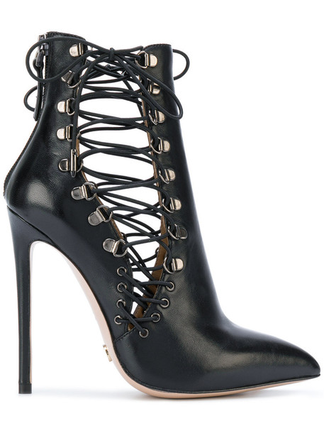 Gianni Renzi strappy women boots ankle boots leather black shoes