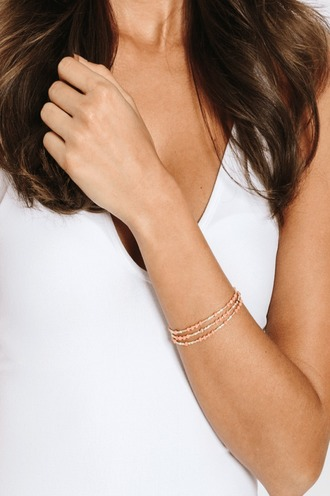 jewels apricot cream wrap bracelet gold-filled closure quality natural rose quartz stone tess and tricia necklace