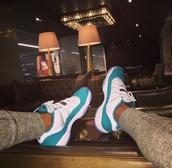 jordans,blue shoes,white shoes,air jordan,shoes,retro,bred 11s,blue,white,air jordan 11