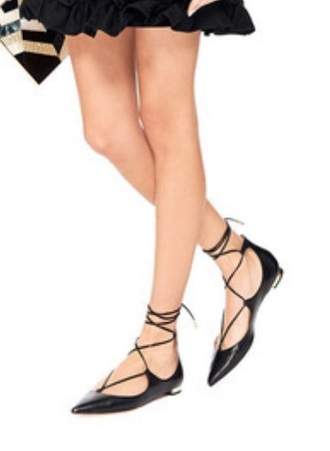 shoes pointed toe flats black string
