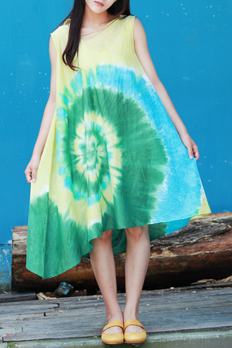 dress yellow green blue summer trendy cool tie dye festival dezzal