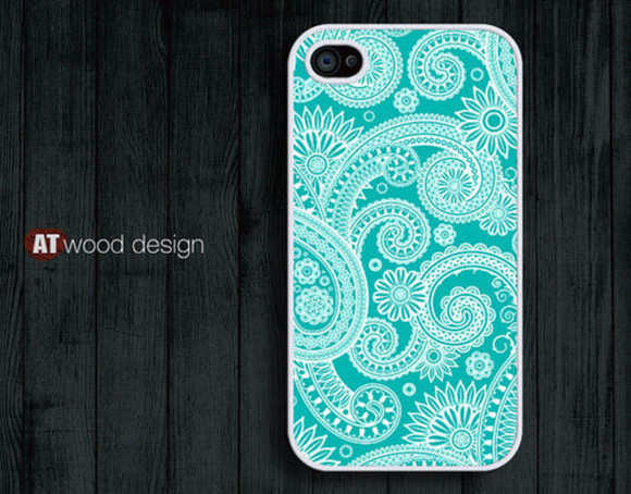 jewels flowers iphone phone phone case phone cover paisley blue turquoise green teal floral flower iphone 4 iphone cover iphone case