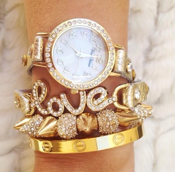 jewels gold white bracelets set bracelets watch gold watch rose gold cute pretty