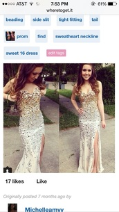 dress,jovani,gold,silver,white,slit dress