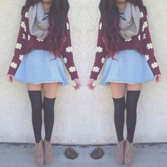 sweater skirt underwear shirt scarf floral hipster knee high socks denim skirt skater skirt infinity scarf daisy tumblr fall outfits blouse jumper flowers burgundy daisy's flower jumper floral jumper white flowers maroon/burgundy
