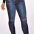 Dark Blue Cutout Design High Waist Skinny Jeans