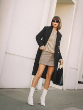 shoes,tumblr,boots,white boots,skirt,mini skirt,grey skirt,sweater,grey sweater,knit,knitwear,knitted sweater,coat,black coat