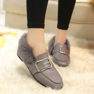 shoes grey warm fashion style comfy fluffy moccasins fall outfits trendsgal.com