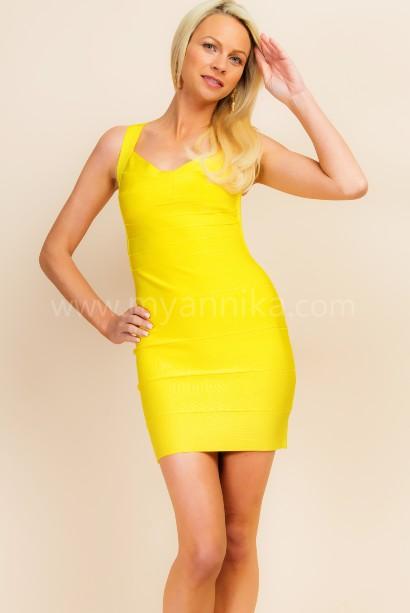 Havana - Yellow Bandage Dress with Deep Cut Out Back Annika - Bandage Dresses   Celebrity Party Dresses   Herve Leger Dresses Bandage dress detail