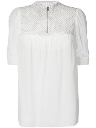 blouse embroidered women white silk top