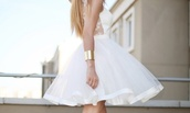 dress,white dress,amazing,love,jewels,lace,back,Arm Cuff,gold,white,pretty,formal,girl,prom dress