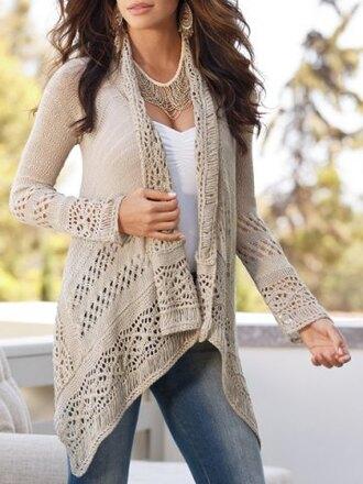 cardigan beige nude fashion style knitwear crochet long sleeves asymmetrical