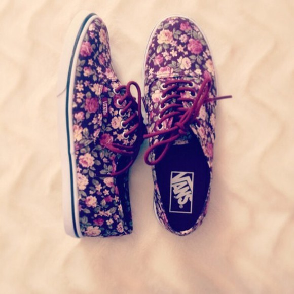 shoes vans floral clothes trends