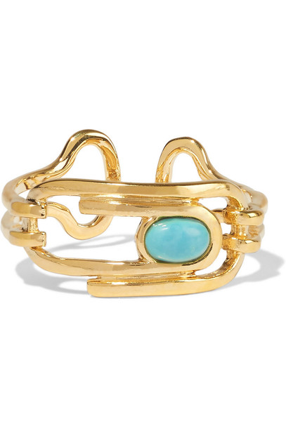 AURELIE BIDERMANN ring gold turquoise jewels