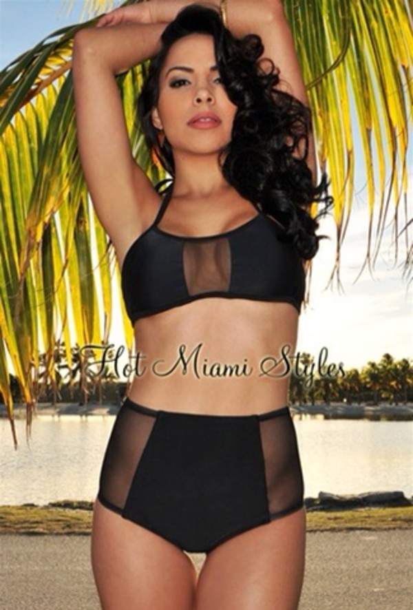 swimwear two-piece xs swimwear mesh black bikini