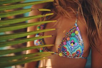 swimwear bikini top costume beads boho bohemian hippie