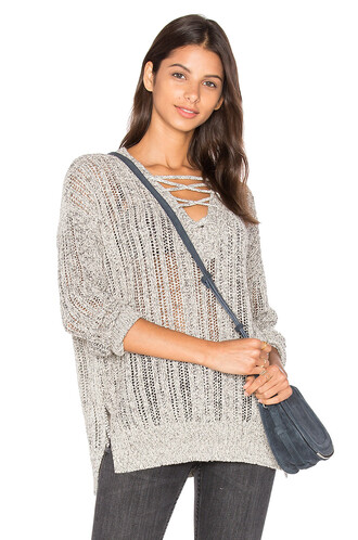 tunic v neck lace grey top