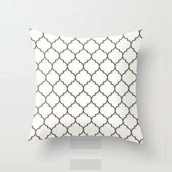 Gray quatrefoil Throw Pillow Case