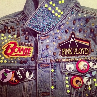 jacket david bowie denim jacket colourful cute
