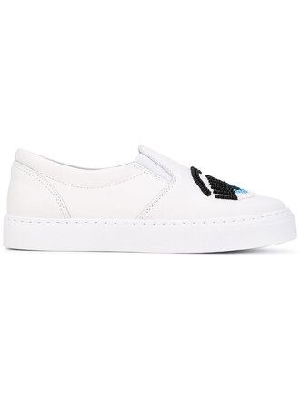 women beaded sneakers leather white shoes