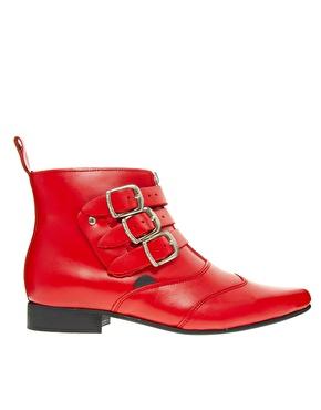 Underground | Underground Blitz Winklepicker Red Ankle Boots at ASOS