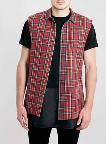 Red Sleeveless Tartan Shirt - TOPMAN USA