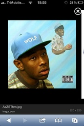 hat,wolfgang,snapback,blue,baby blue,light blue,green,tyler the creator,wolf