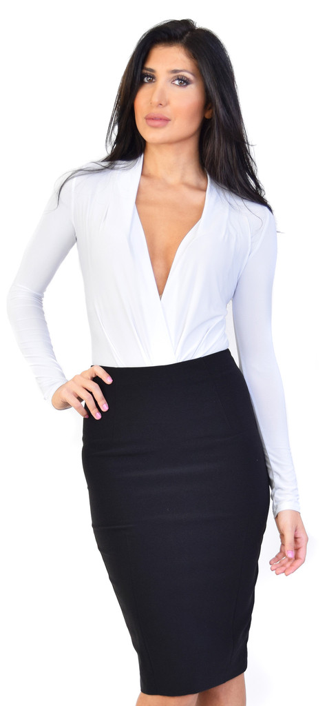 Vixen deep v neck long sleeve bodysuit