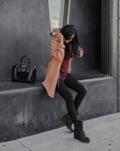 jeans,tumblr,black jeans,skinny jeans,black skinny jeans,boots,black boots,wedge boots,wedges,top,burgundy,burgundy top,camel,camel coat,sporty,bag,black bag,sunglasses,no gender