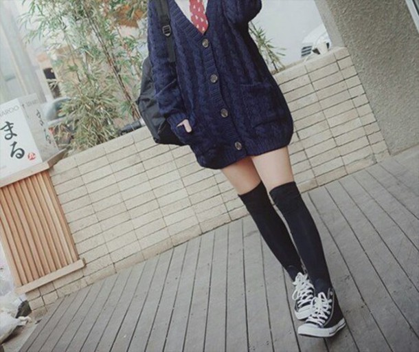 cardigan long knit oversized sweater cute kawaii asian japan japanese fashion warm back to school