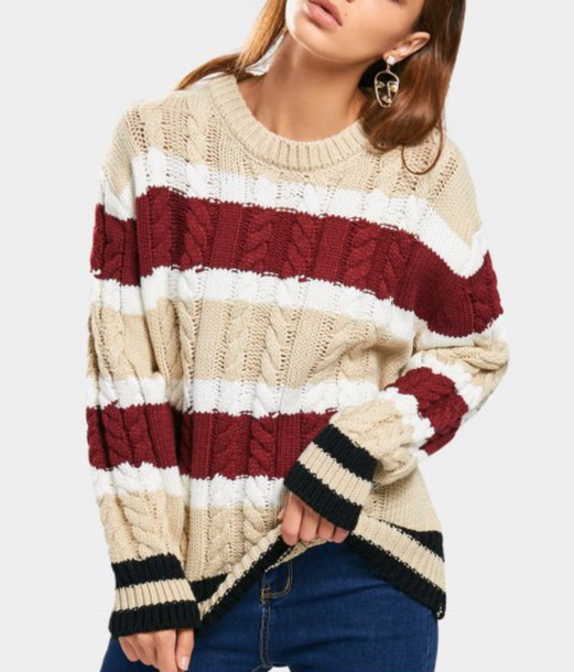 sweater girly sweatshirt jumper knitwear knit knitted sweater nude white red fall sweater