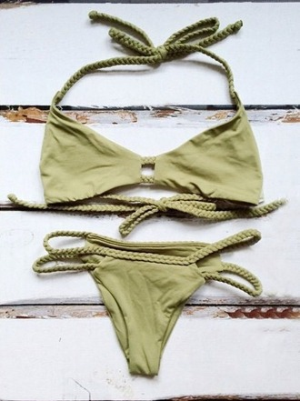 swimwear khaki olive green green bikini string braid