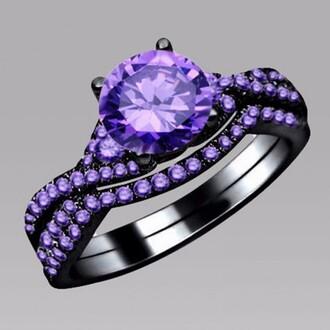 jewels amethyst ring set black ring set four-prong set 1.0 ct round cut amethyst three-piece wedding ring set round amethyst engagement ring amethyst wedding band evolees.com