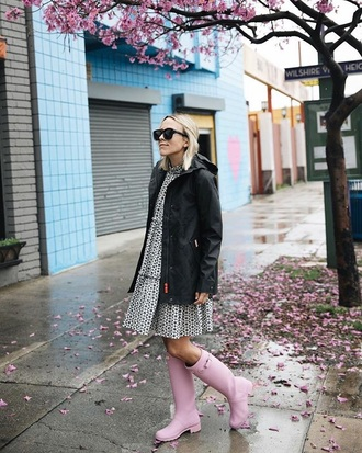 shoes boots wellies pink boots dress mini dress jacket black jacket sunglasses