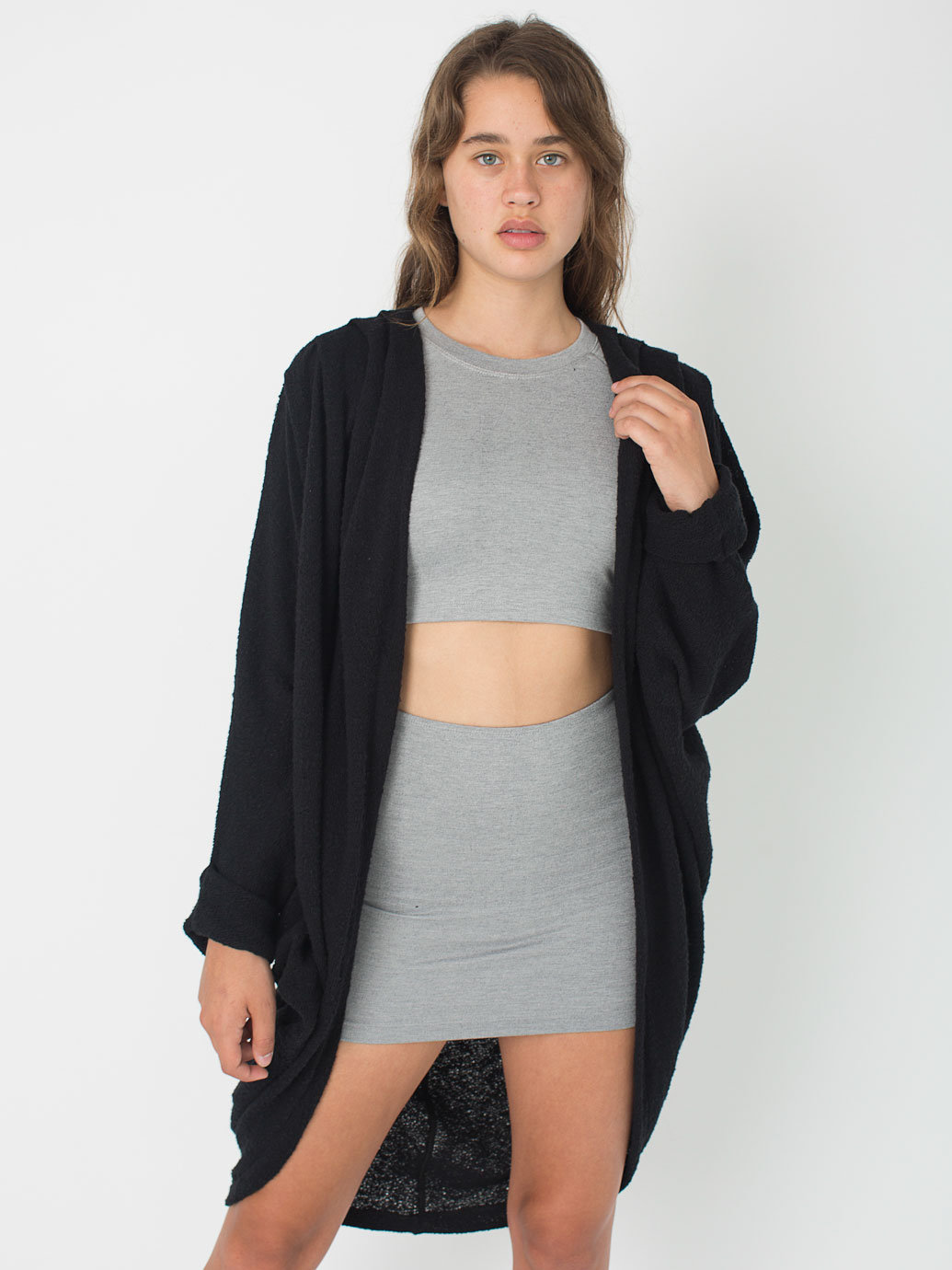 Bouclé shawl cardigan