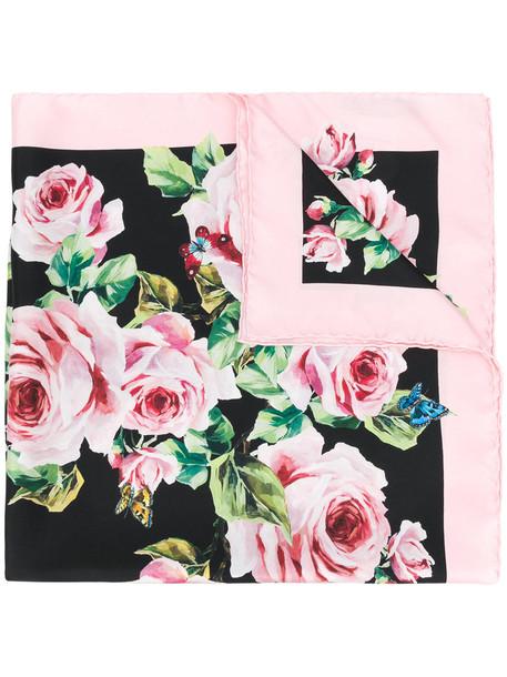 Dolce & Gabbana rose women scarf print black silk