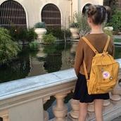 bag,cute,grunge,soft grunge,plants,mustard,sweater,yellow,backpack,rucksack,tumblr,aesthetic,fjallraven kanken