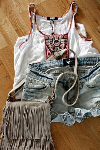 shorts gray fringe crossbody bag denim ripped