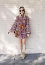 cupcakes and cashmere,blogger,sunglasses,dress,belt,shoes,bag,ankle boots,mini dress,fall outfits