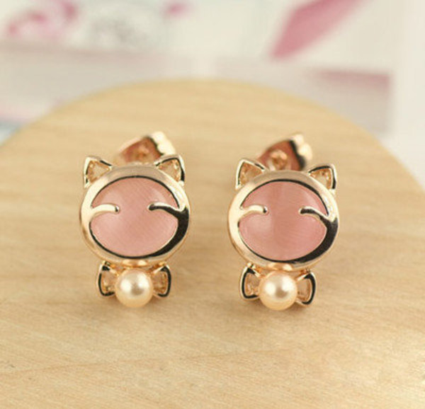 jewels earrings asian asian earringsd asian earrings korean earrings korean fashion korean fashion cute earrings cats cat earrings kawaii gwiyomi