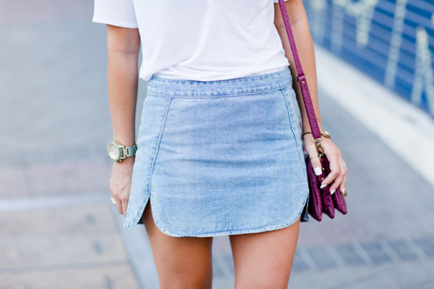 Skirt: denim skirt, collage vintage, fashion blogger, mini skirt ...