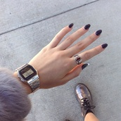 jewels,ring,silver,watch,silver ring,silver watch,gold and silver watch,digital watch,red ring,urban ring,vintage ring,rock,gem,vintage,shoes,boots,summer,girly,nails,nail polish,watch silver electric,jowels,cardigan,clock,hipster,hippie,fashon,black,outfit,purple swimwear,summer outfits,sexy,perfect,tumblr,t-shirt,shirt,coat,casio watch