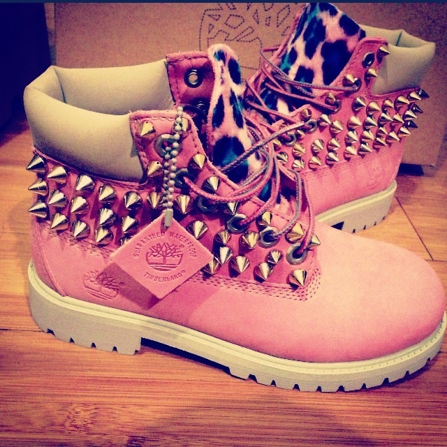 Custom Spiked Leopard Timberlands / SLUTS & DIAMONDS