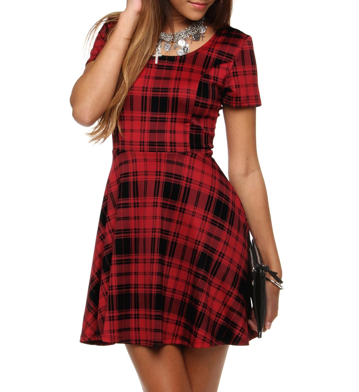 Red oh so popular plaid skater dress