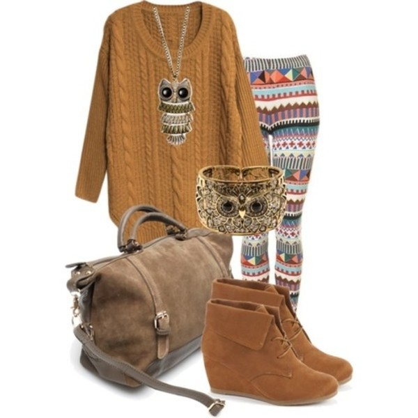 sweater owl pants fall outfits winter outfits