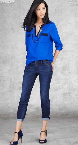 blouse fashion ann taylor jeans jewels shoes