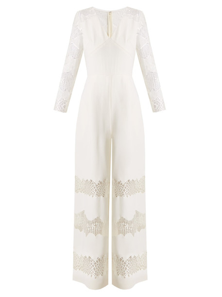HUISHAN ZHANG Faye lace-panelled wool-crepe jumpsuit in white
