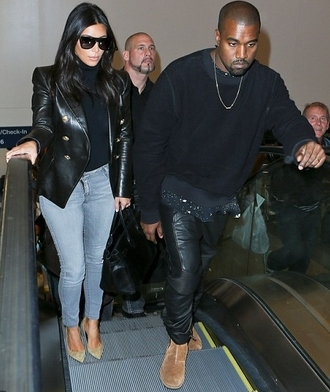 jacket leather jacket kim kardashian shoes fall outfits jeans