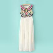 dress,aztec,white,chiffon,colorful